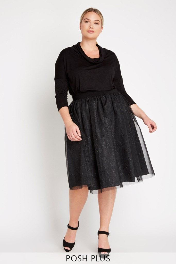 Poshsquare Plus 1XL / Black Vivant Tulle Skirt Plus Size