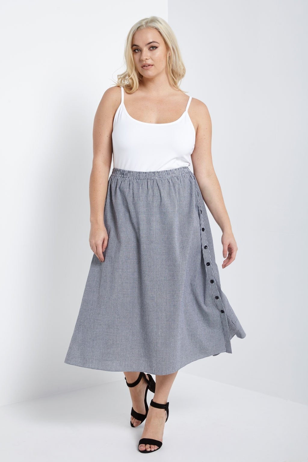 Poshsquare Plus 1XL / Black White Gingham Gingham Side Button Midi Skirt Plus Size