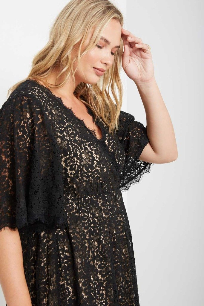 Poshsquare Plus 1XL / Black Wilder Lace Fit and Flare Dress Plus Size