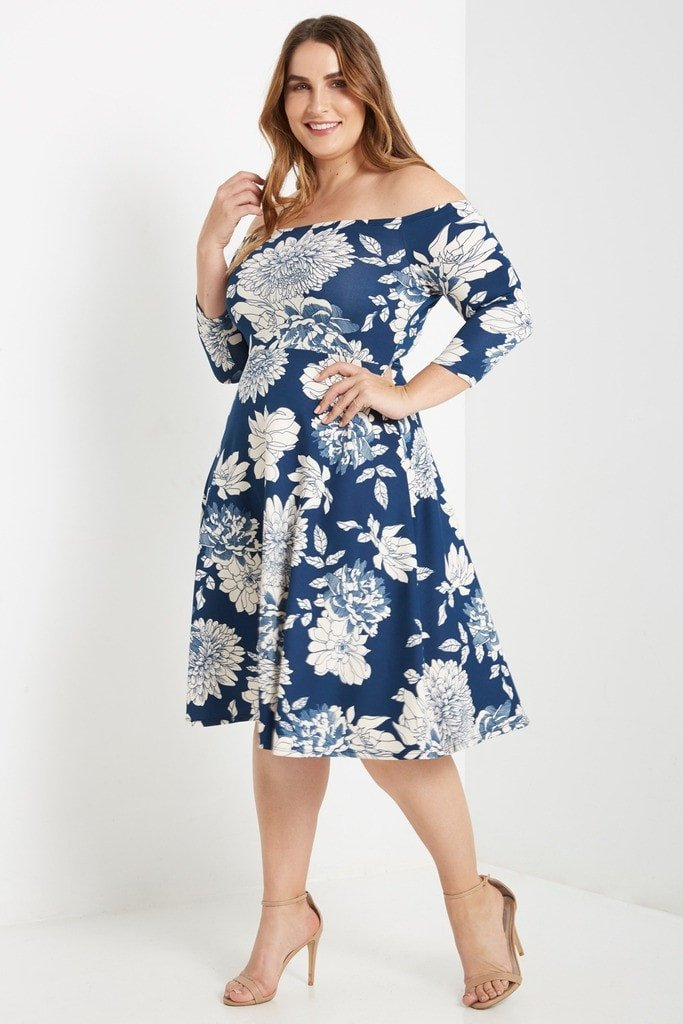 Poshsquare Plus 1XL / Blue Melody Floral Off the Shoulder Fit and Flare Dress Plus Size