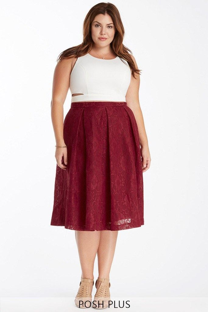 Poshsquare Plus 1XL / Burgundy Regal Rose Lace Pleated Midi Skirt Plus Size