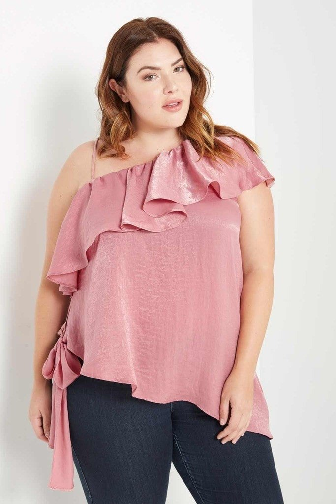 Poshsquare Plus 1XL / Dusty Rose Marion One Shoulder Top Plus Size