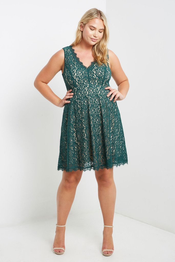 Poshsquare Plus 1XL / Green Lace Fit and Flare Dress Plus Size