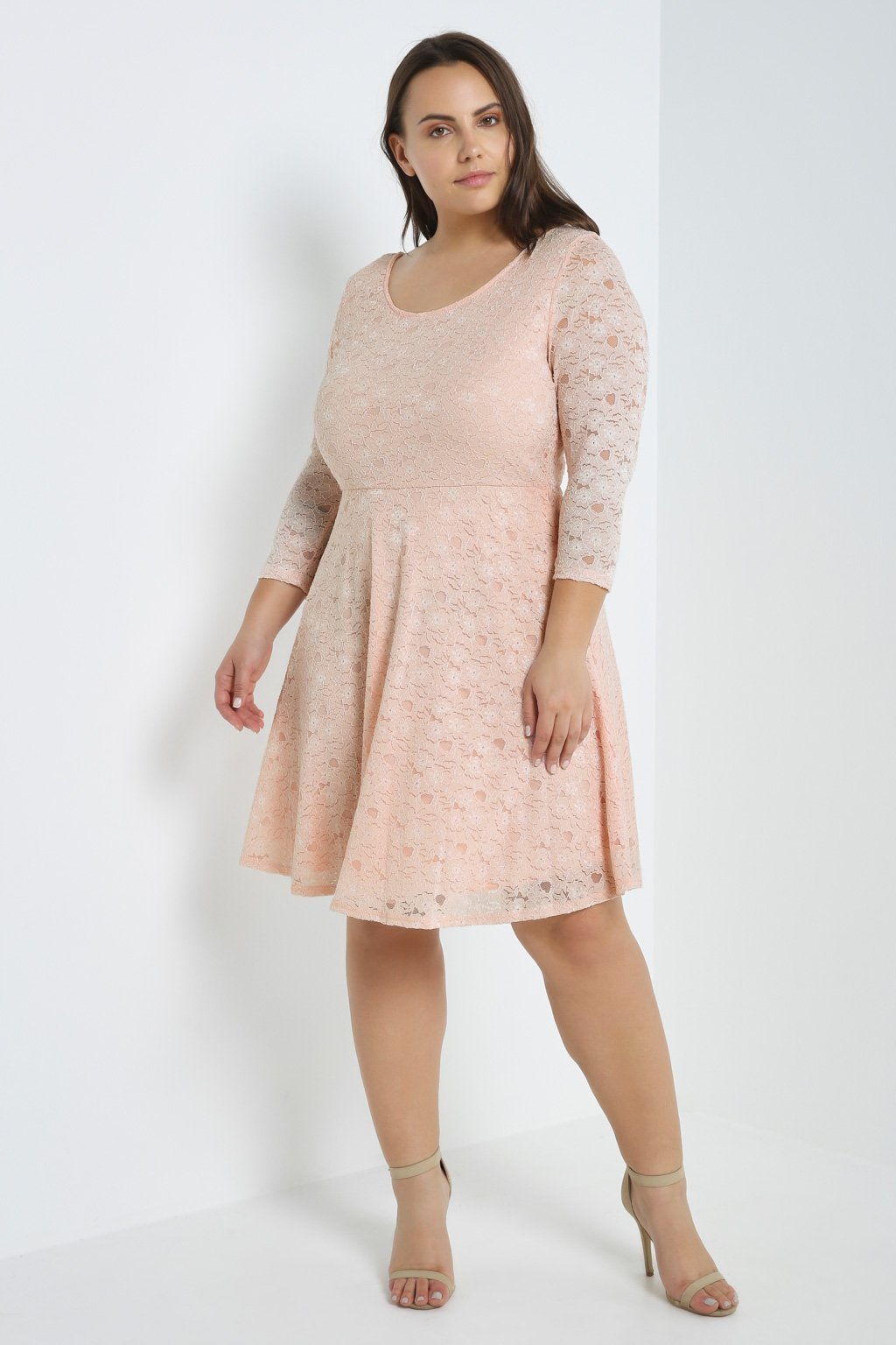Poshsquare Plus 1XL / Light Pink Love Poem Lace Fit and Flare Dress Plus Size