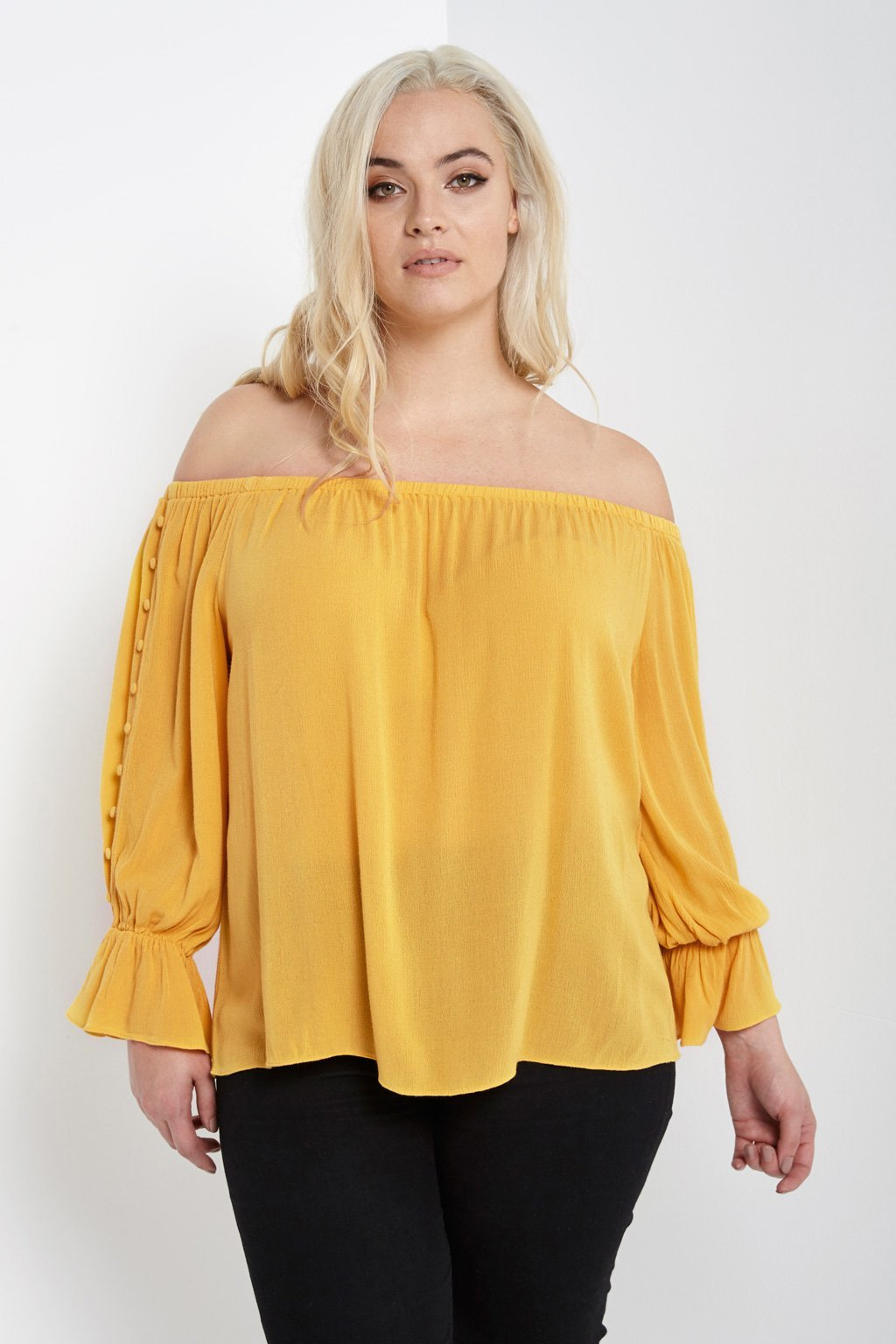 Poshsquare Plus 1XL / Mustard Off The Shoulder Button Sleeve Top Plus Size