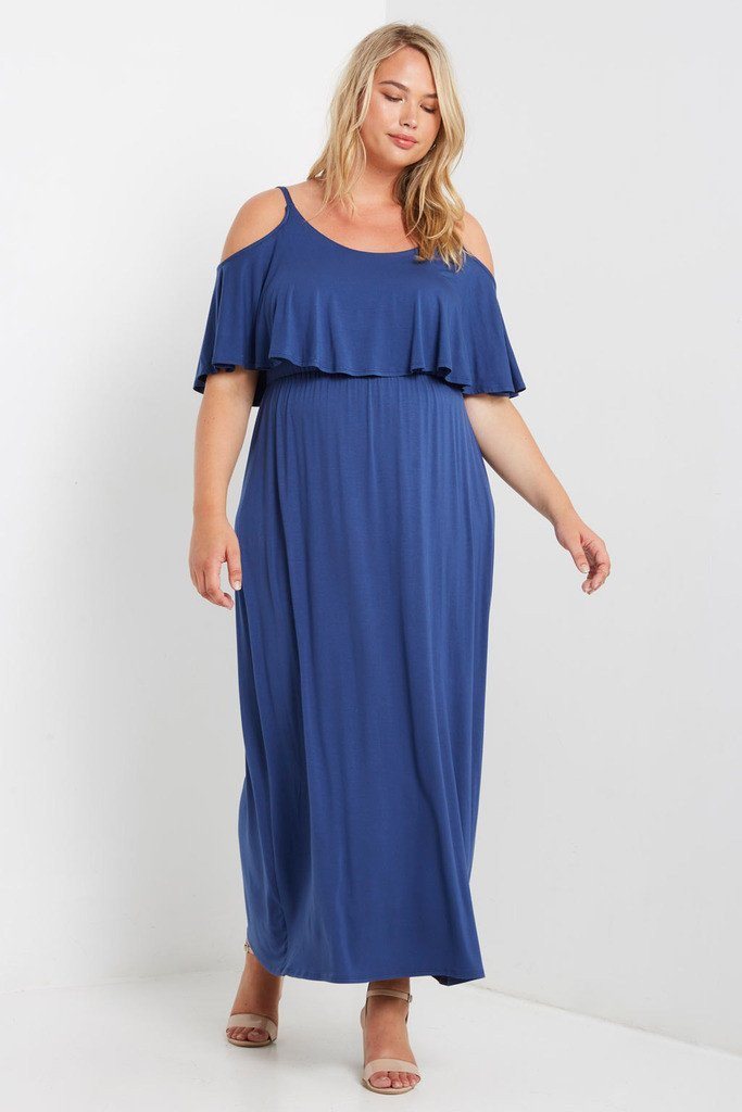 Poshsquare Plus 1XL / Navy Barth Cold Shoulder Maxi Dress Plus Size