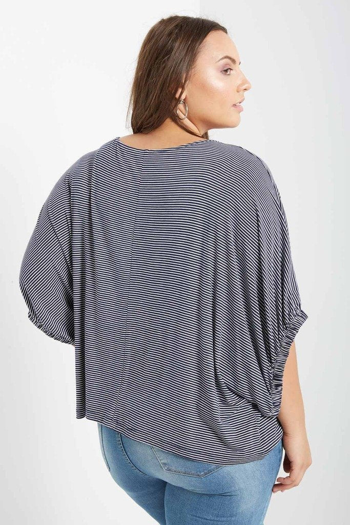Poshsquare Plus 1XL / Navy Essential Long Sleeve Dolman Top Plus Size
