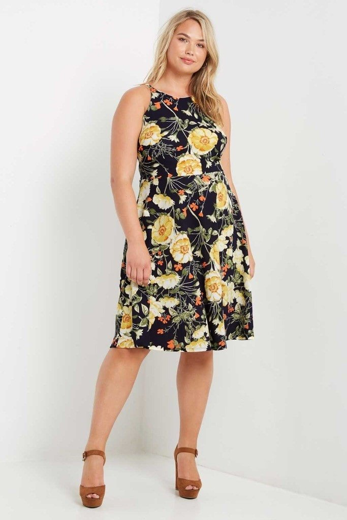 Jolie Floral Fit And Flare Dress Plus Size