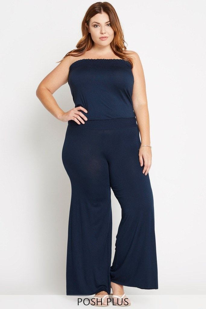 Poshsquare Plus 1XL / Navy Uptown Behavior Jumpsuit Plus Size