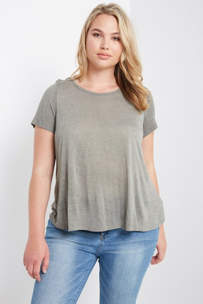 Poshsquare Plus 1XL / Olive Grey Comfort T Shirt Plus Size