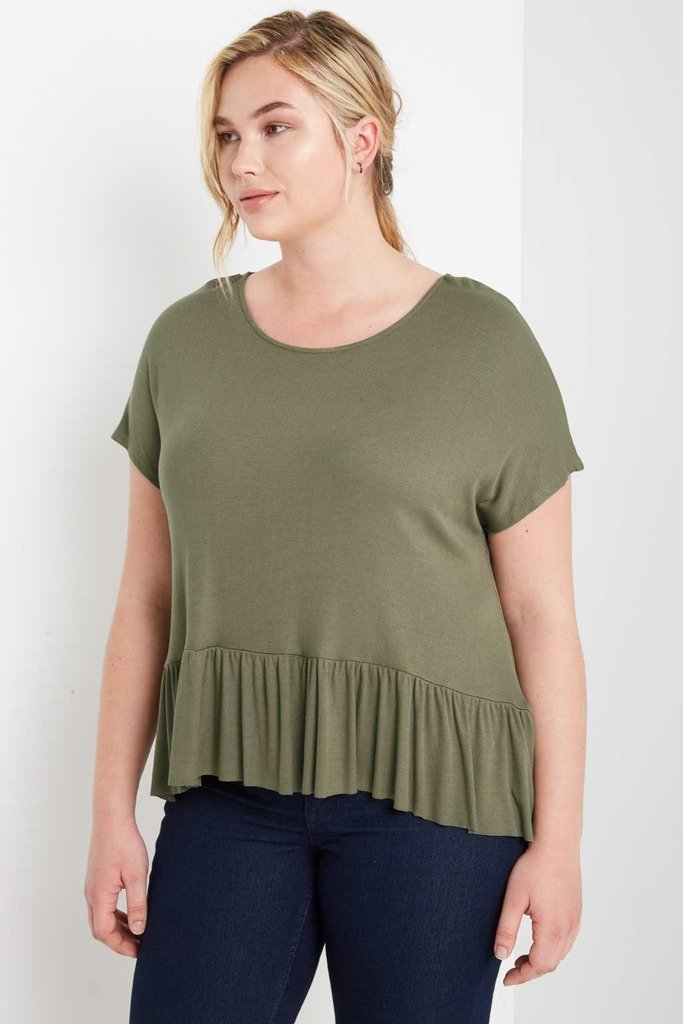 Poshsquare Plus 1XL / Olive Ribbed Ruffle Top Plus Size