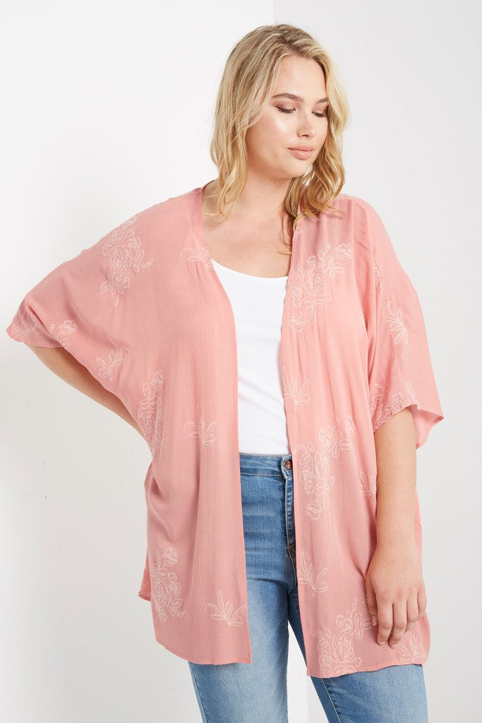 Poshsquare Plus 1XL / Peach Floral Kimono Plus Size