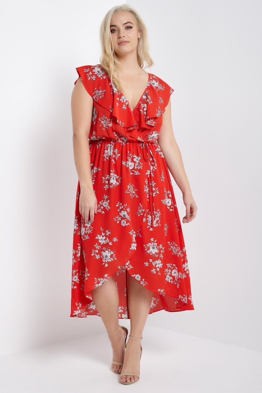 Poshsquare Plus 1XL / Red Floral Midi Dress Plus Size