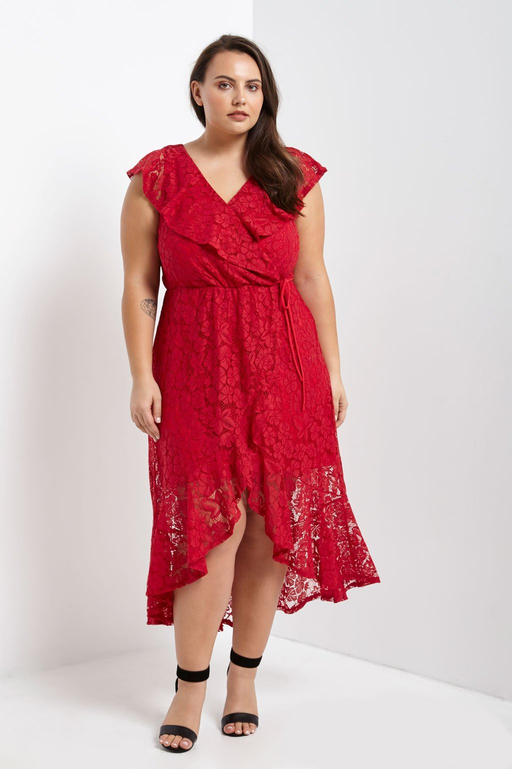 Poshsquare Plus Lace Ruffle Wrap Dress Plus Size