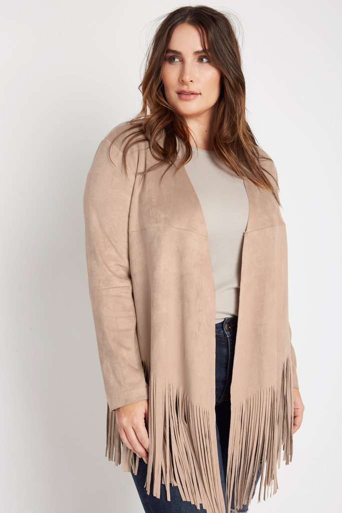 Poshsquare Plus 1XL / Taupe Carly Faux Suede Fringe Jacket Plus Size