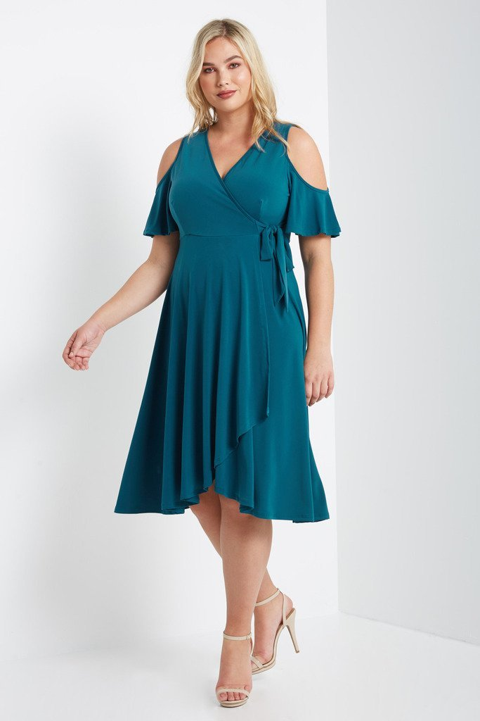Poshsquare Plus 1XL / Teal Mock Wrap Swing Dress Plus Size