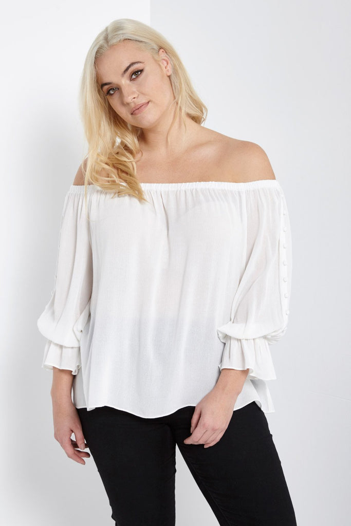 Poshsquare Plus 1XL / White Off The Shoulder Button Sleeve Top Plus Size