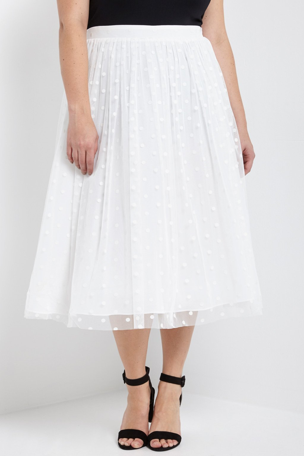 Poshsquare Plus 1XL / White Polkadot Tulle Midi Skirt Plus Size