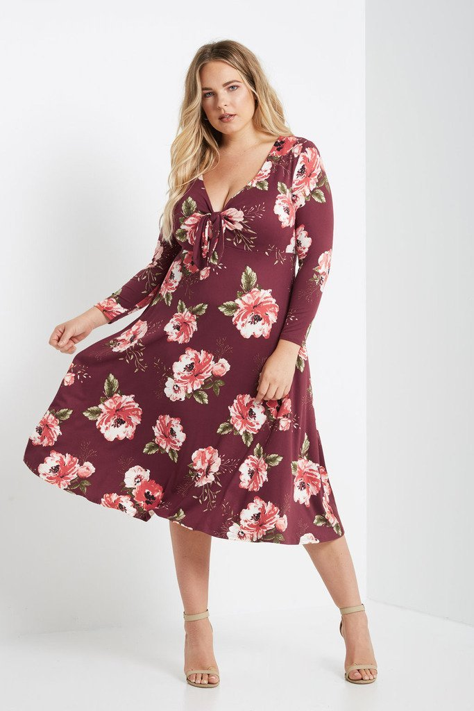 Poshsquare Plus 1XL / Wine Collin Floral Fit and Flare Midi Dress Plus Size
