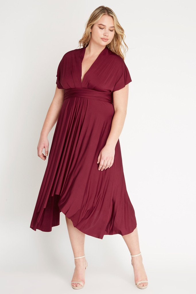 Poshsquare Plus 1XL / Wine Multi-Wrap Dress Plus Size