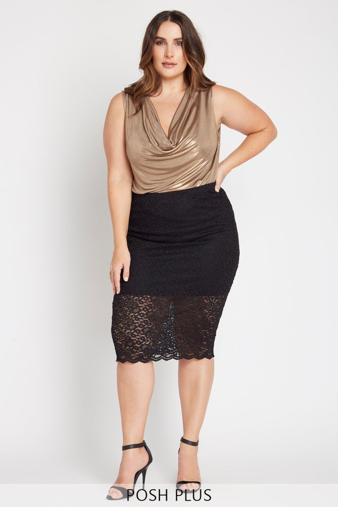 Poshsquare Plus 2XL / Black Estelle Lace Midi Skirt Plus Size