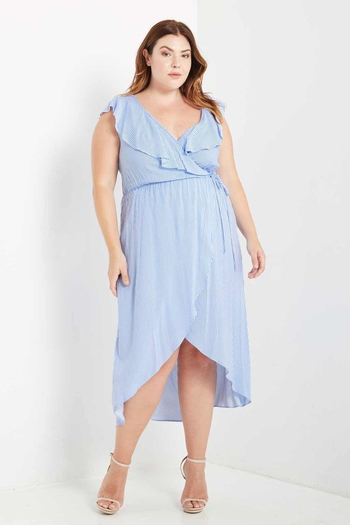 Poshsquare Plus 2XL / Light Blue Afternoon Striped Midi Dress Plus Size