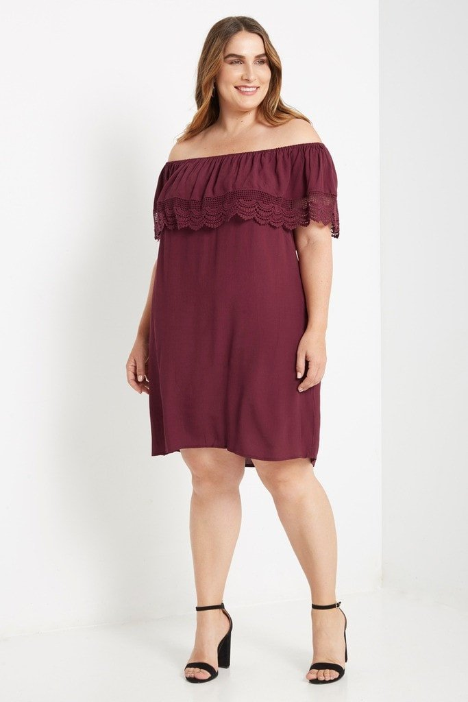 Poshsquare Plus 3XL / Maroon Adora Off the Shoulder Swing Dress Plus Size