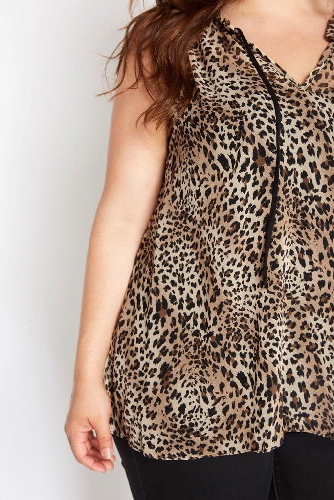 Poshsquare Plus Animal Intuition Sheer Leopard Printed Top Plus Size