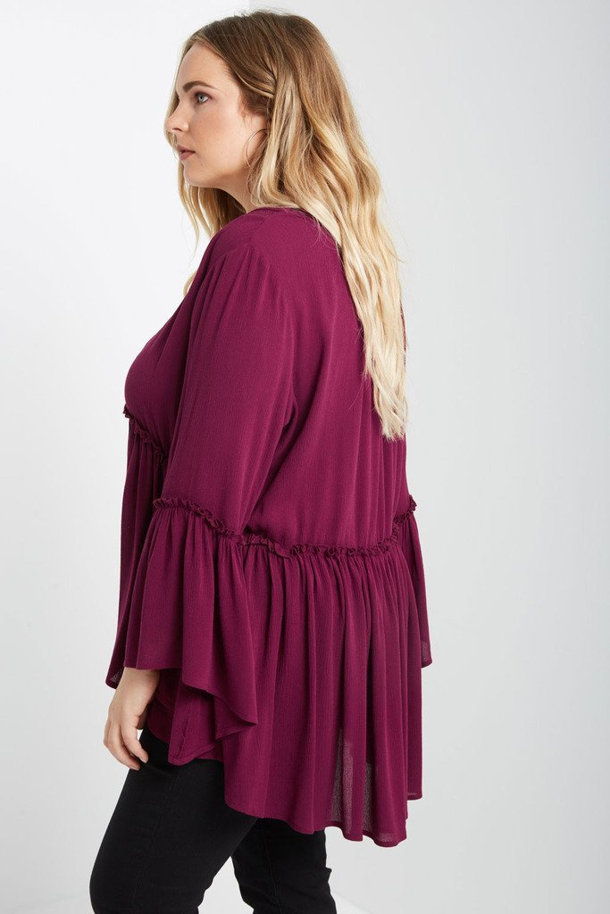 Poshsquare Plus Beth Peasant Top Plus Size