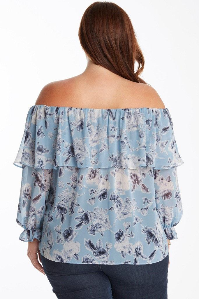 Poshsquare Plus Blooming Beauty Off The Shoulder Floral Top Plus Size