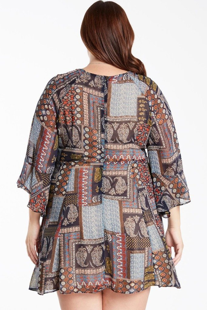 Poshsquare Plus Born to Wander Bell Sleeve Dress Plus Size