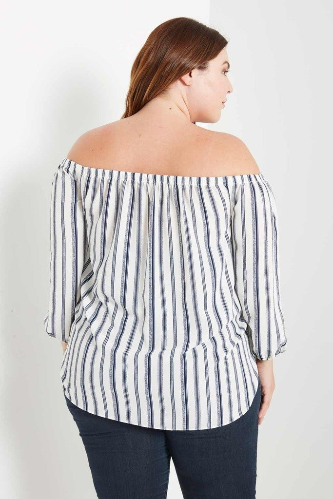 Poshsquare Plus Braden Printed Off the Shoulder Top Plus Size