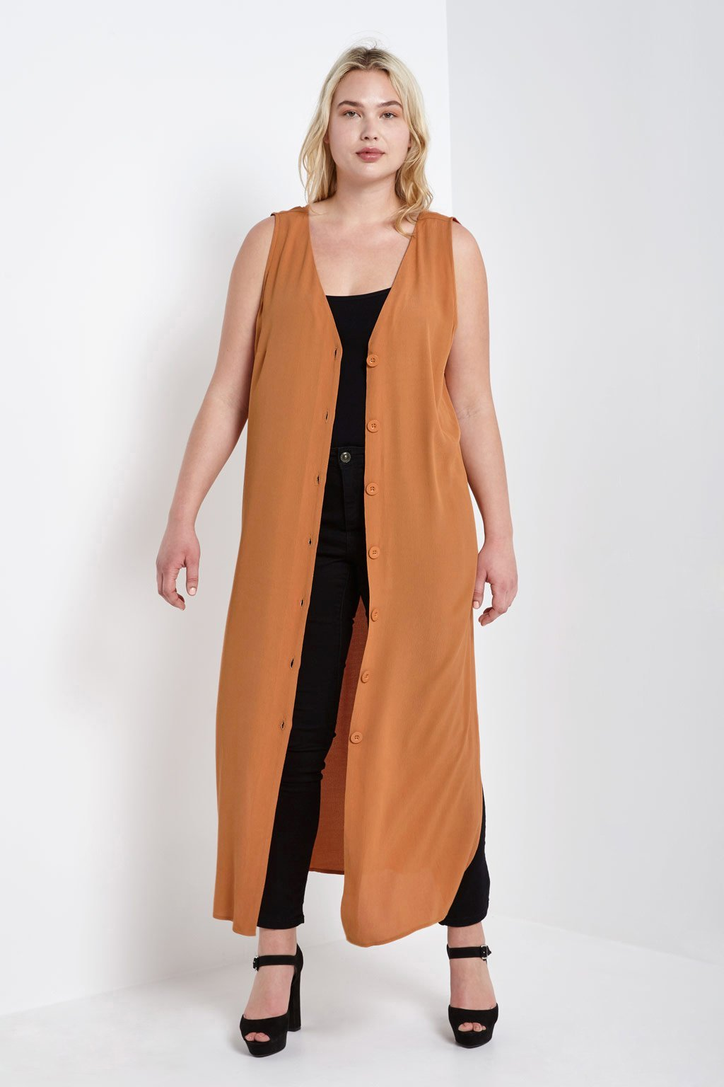 Poshsquare Plus Button Down Crepe Long Duster Plus Size