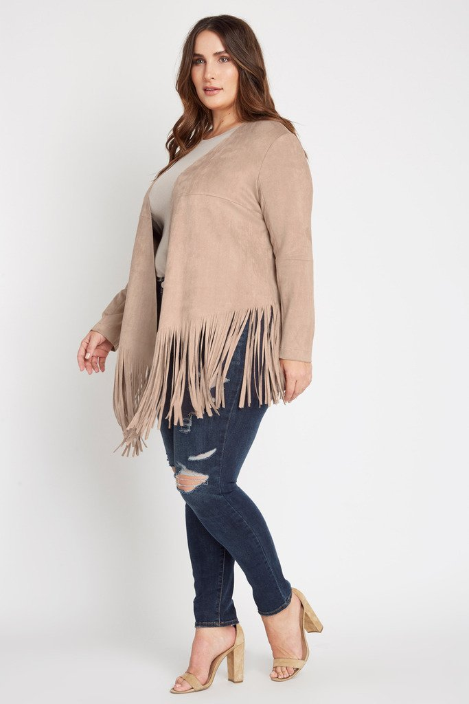 Poshsquare Plus Carly Faux Suede Fringe Jacket Plus Size