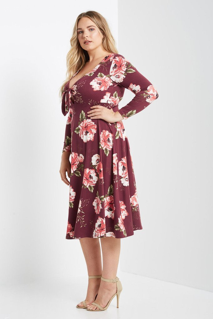 Poshsquare Plus Collin Floral Fit and Flare Midi Dress Plus Size