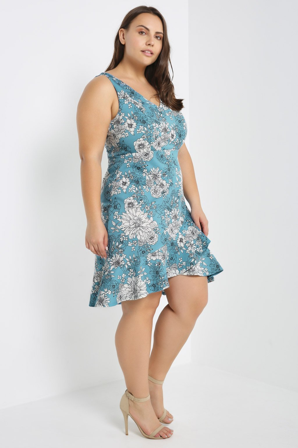 Poshsquare Plus Contrast Floral Skater Dress Plus Size