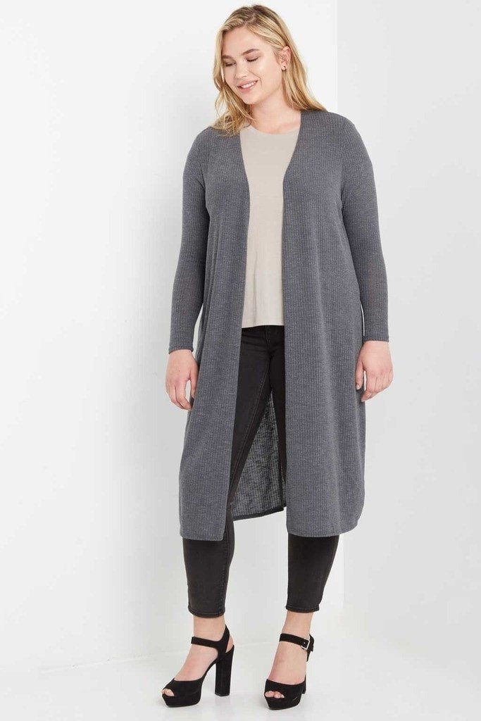 Poshsquare Plus Day Ribbed Longline Cardigan Plus Size