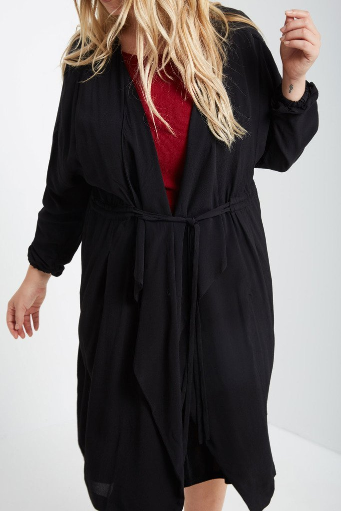 Poshsquare Plus Drawstring Trench Jacket Plus Size