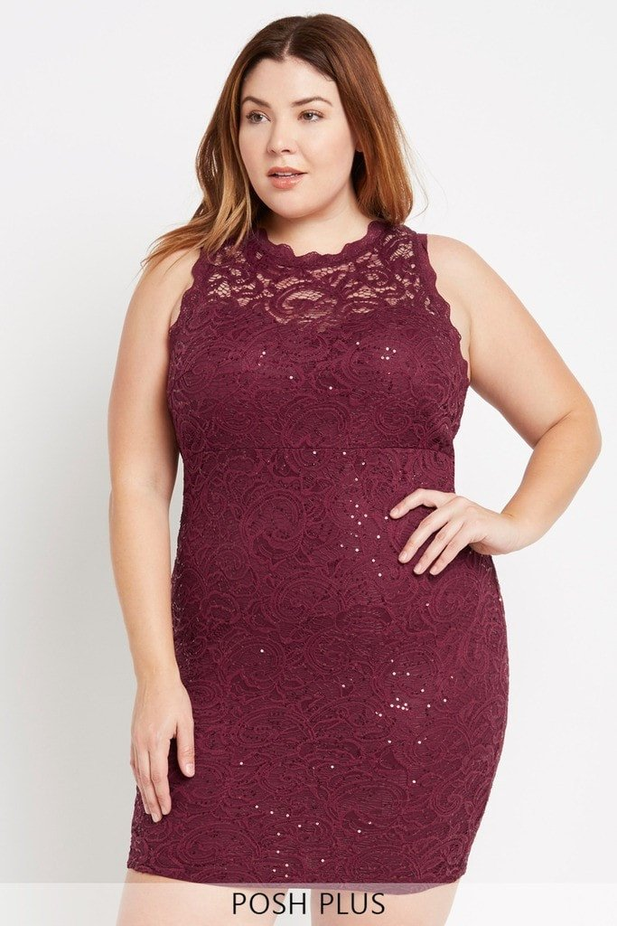 Poshsquare Plus Elegant Encounter Midi Dress Plus Size