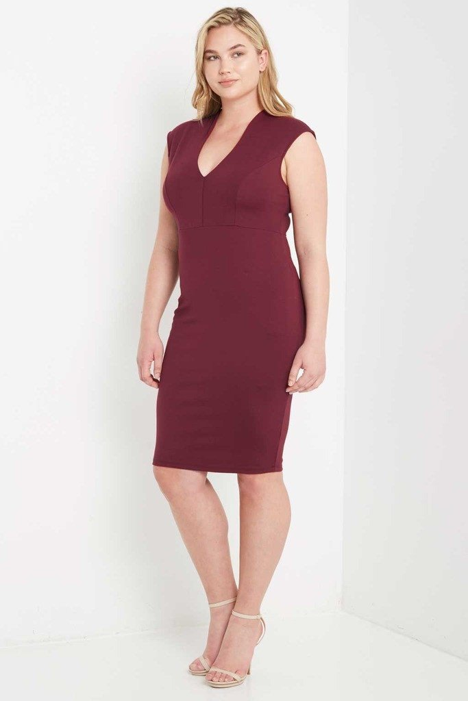 Poshsquare Plus Evening Luxe Deep V Neck Bodycon Dress Plus Size