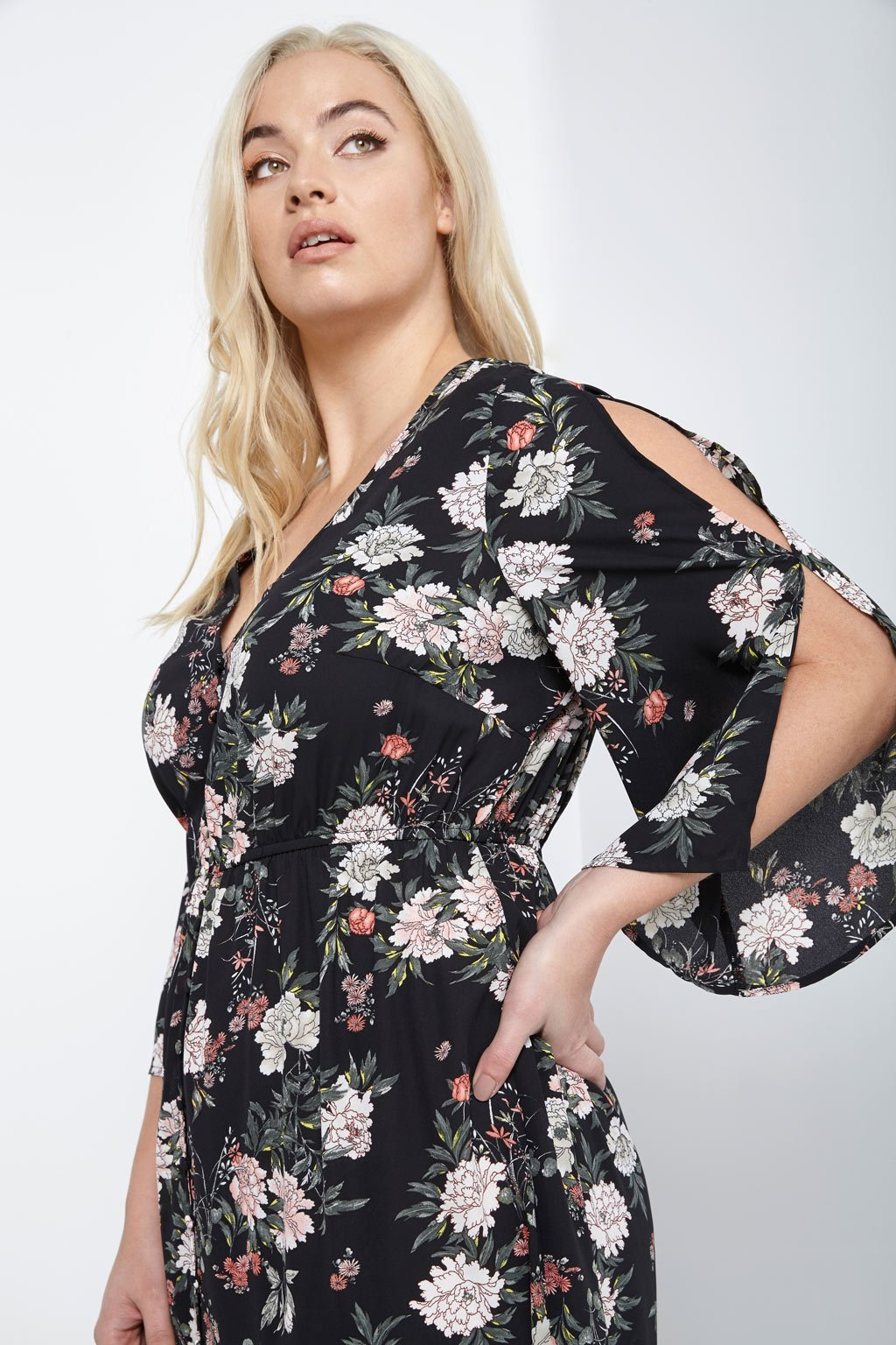 Poshsquare Plus Floral Button-Down Maxi Dress Plus Size