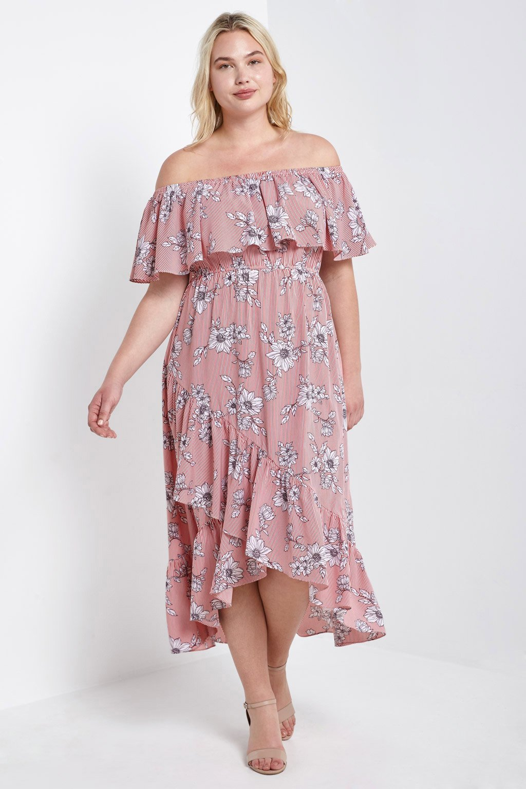 Poshsquare Plus Floral Off the Shoulder Flounce Dress Plus Size