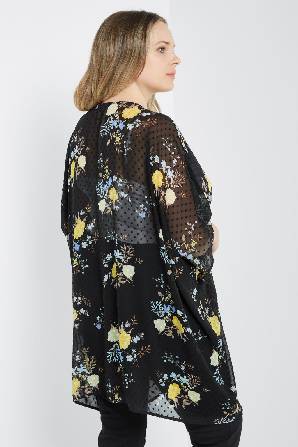 Poshsquare Plus Floral Open-Front Sheer Kimono Plus Size
