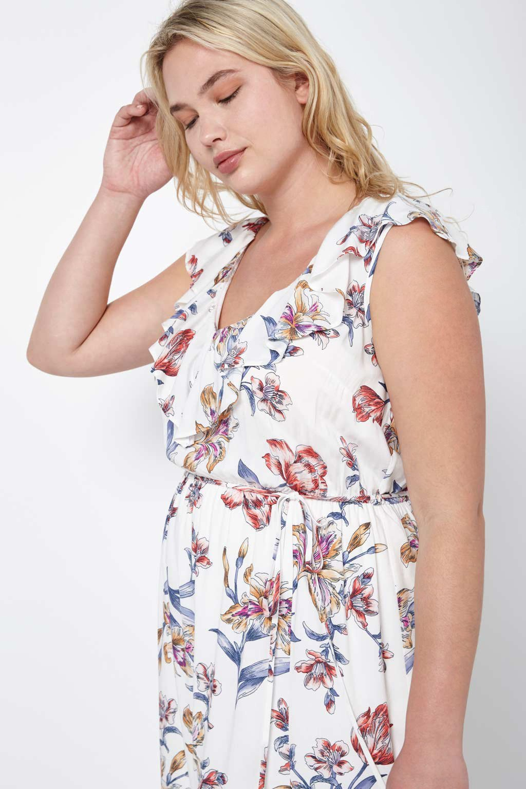 Poshsquare Plus Floral Ruffle Maxi Dress Plus Size