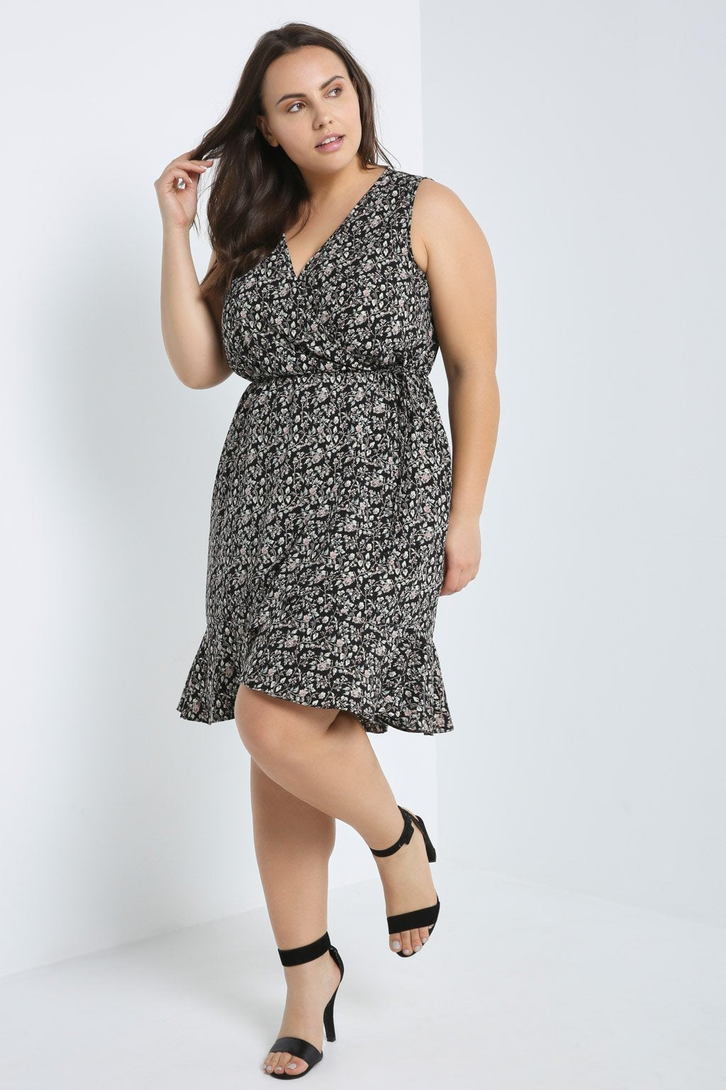 Poshsquare Plus Floral Surplice Wrap-Front Dress Plus Size