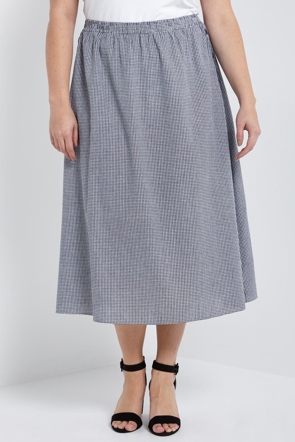 Poshsquare Plus Gingham Side Button Midi Skirt Plus Size