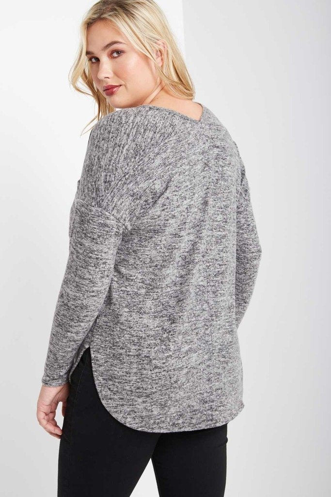 Poshsquare Plus Khlo Long Sleeve Heathered Sweater Top