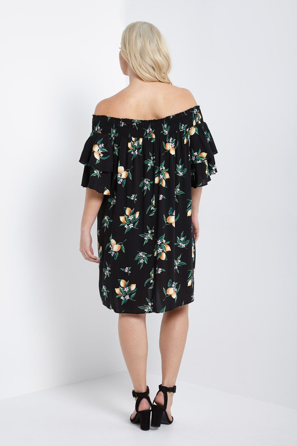 Poshsquare Plus Lemon Floral Off the Shoulder Dress Plus Size