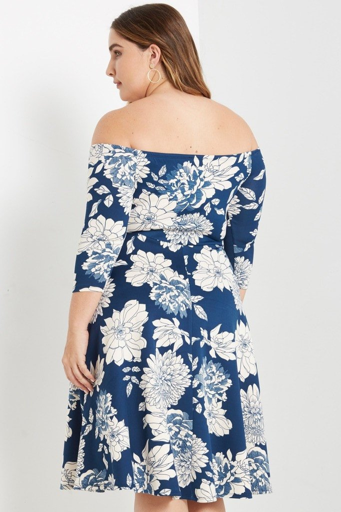 Poshsquare Plus Melody Floral Off the Shoulder Fit and Flare Dress Plus Size