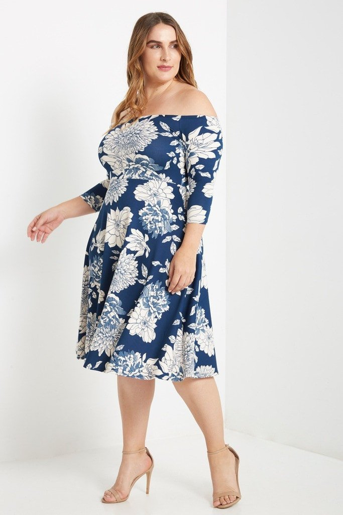 Melody Floral Off The Shoulder Fit And Flare Dress Plus Size